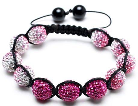 Snow Pink Shambala Bracelet | Pink Shamballa Bracelet | Pink and White Bangle Bracelet | Women's shamballa bracelet | Women's Beaded Bracelet (By BAGATI CRYSTO)