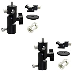 2 All Metal tilt Bracket with flash shoe clamp multi purpose photo studio mount (2) brackets