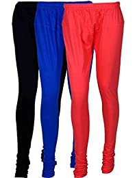 Fashion And Freedom Women's Cotton Leggings Pack Of 3_FFCL_BB1P_BLACK-BLUE-PINK_FREESIZE