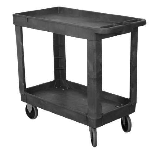 Wesco 270494 Plastic Economy Service Cart, 2 Shelves, 330lbs Load Capacity, 30.635