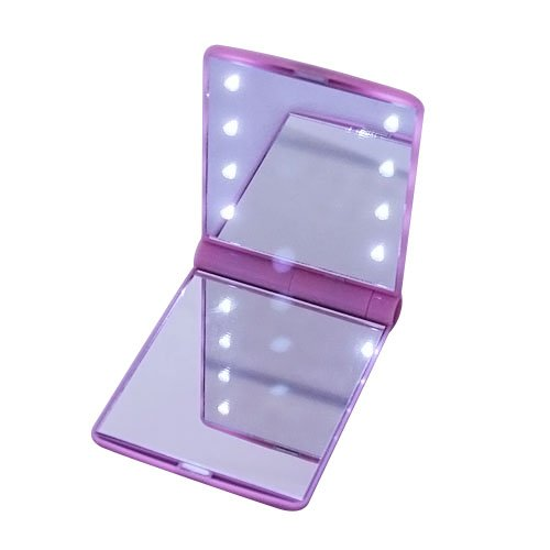 Sinobag®New Stylish Women Girls Cosmetic Makeup Mirror Portable Pocket Led Light Up Mirror (Pink)