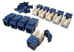 Shaxon BM703U810-10B, Category 6 Keystone Jack 10 Pack, RJ45 to 110 - Blue