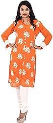 Touch Patiala Women's Georgette Regular Fit Kurta (Orange, Large)