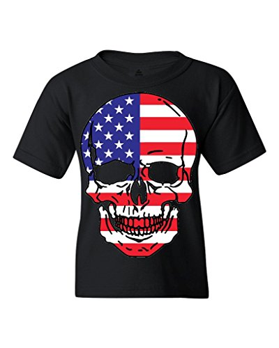 Skull USA Flag Pattern Youth's T-Shirt Day of the Dead Shirts