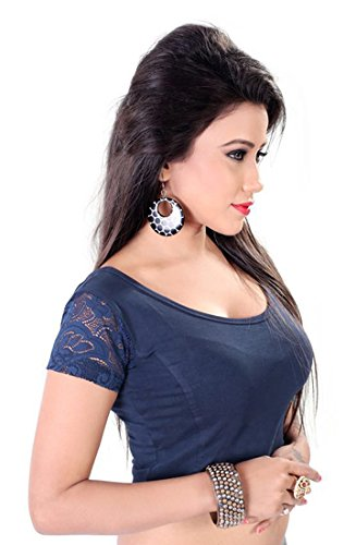 Fressia Readymade Stretchable Saree Blouses(100blue)  available at amazon for Rs.299