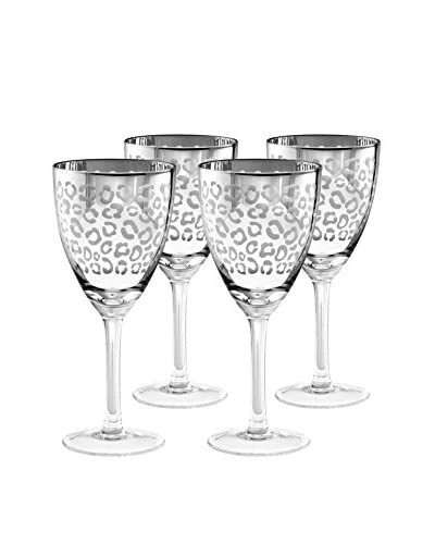 Artland Set of 4 Leopard 14-Oz. Wine Glasses, Silver