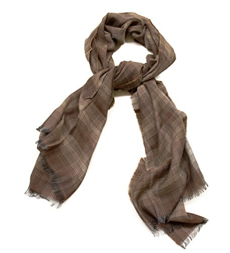 TOM FORD Brown Plaid and Check Scarf Cashmere and Wool, Brown (Ford Scarf compare prices)