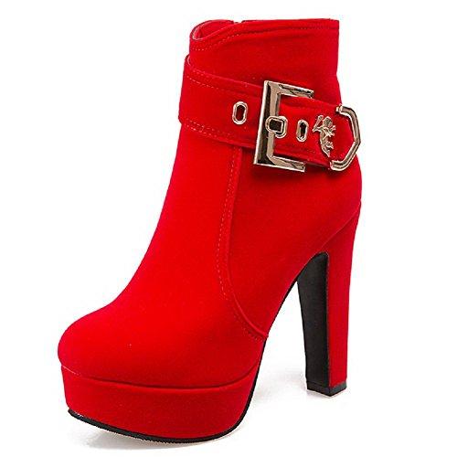 allhqfashion-donna-cerniera-punta-tonda-tallone-spesso-bassa-altezza-stivali-rosso-39