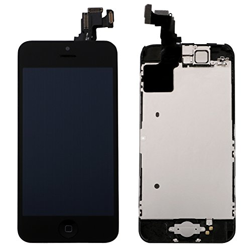 Corepair Full Assembly Replacement for iPhone 5C (4.0 Inch) LCD Display Screen Touch Digitizer Assembly, Facing Proximity Sensor+ Home Button+ Ear Speaker+ Front Camera+ Repair Tools (5C Black) (Iphone 4 Replacement Camera Front compare prices)