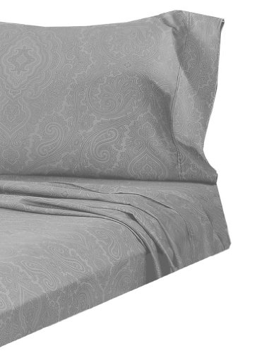 Marrikas 600Tc Light Grey Italian Paisley Sheet Set King front-1008643