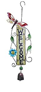 Young's Metal/Glass Welcome Wind Bell, 23.75-Inch