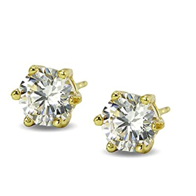 Beautiful 6mm Simulated White Diamond Basket Stud Earrings Womens 9ct Gold Filled 9K G/F