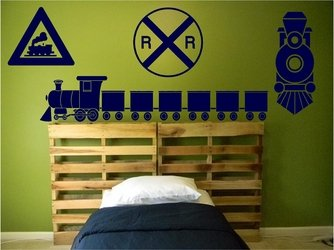 Train Wall Decals Set - Boys Bedroom Nursery Wall Decals