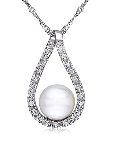 Michiko 14K White Gold Freshwater Cultured Pearl & 1/10-Ct. Diamond Cutout Teardrop Necklace