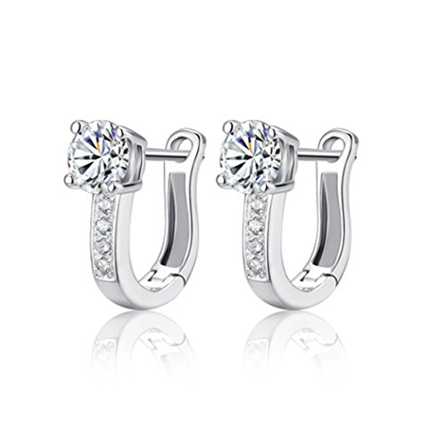 Time Pawnshop Elegant Simple U-shaped Sterling Silver Cubic Zirconia Lady Hoop Earrings