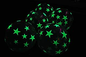 11 Inch Glow in the Dark Star Latex Balloons- 10 pack