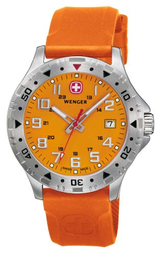Wenger Men's Off Road Sports Series Analogue Watch 79303W with Bright Orange dial and Matching Silicon Strap