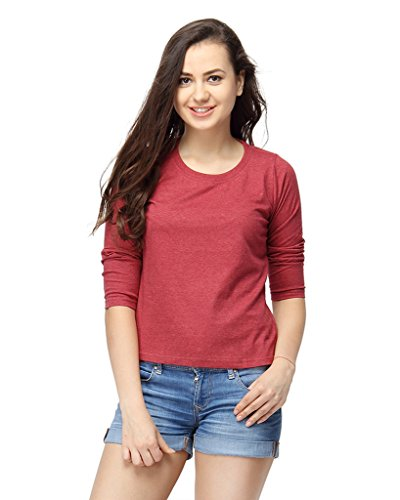 Campus-Sutra-Women-Round-Neck-Quarter-Sleeve-T-Shirts