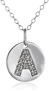 "Sterling Silver Diamond Disc Initial ""A"" Pendant Necklace, 18"""