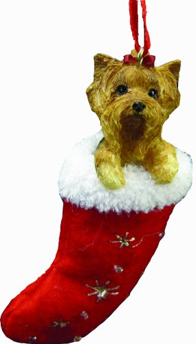 Yorkie Christmas Stocking Ornament