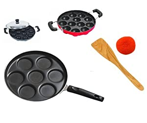 Sajni Cool Mom Combo Mini Uttapam Pan + Appam Patra(black) at amazon