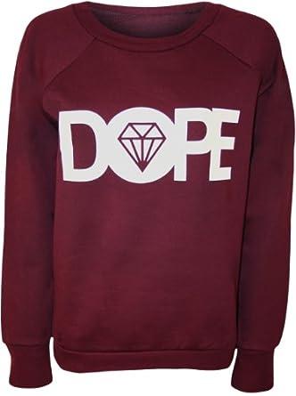PaperMoon - Papermoon - Pull simple avec le mot 'DOPE' et l'image du diamant - Pulls - Femme - Vin - 40-42