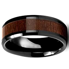 buy Mens Womens 8Mm Black Ceramic Ring Vintage Wedding Engagement Band 100% Koa Wood Inlay Comfort Fit
