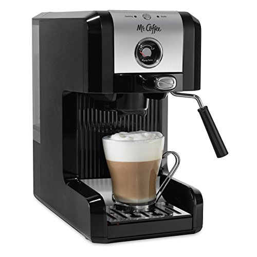 Mr. Coffee Premium Self Tamping Espresso with Milk Frother, ECMPT1000