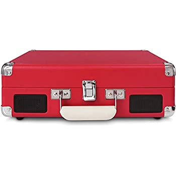 Crosley CR8005A-RE Cruiser Portable 3-Speed Turntable, Red