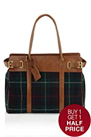 Pure Wool Woven Checked Holdall