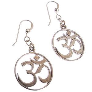 Delicate Om Peace Bronze Earrings on French Hooks