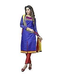 Suchi Fashion RoyalBlue & Red Jacquard Dress Material