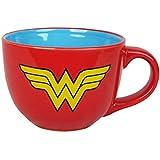 Silver Buffalo WW0224 DC Comics DC Wonder Woman Uniform Soup Mug, 24 oz., Red