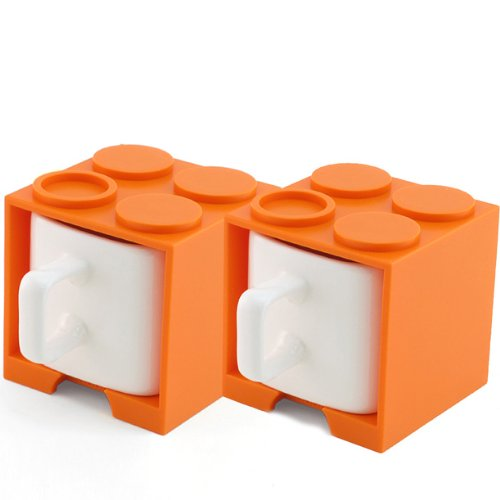 Cube Mug Mini Double (Orange), 4 Oz Stackable Coffee Mug For Espresso