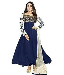 RR FASHION WOMENS GEORGETTE ANARKALI DRESS MATERIAL(A5007_BLUE)