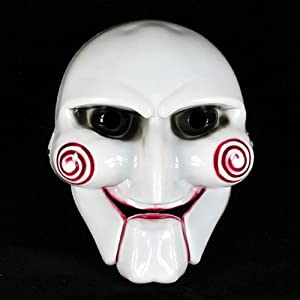 White Full Face Cosplay Saw Puppet Masquerade Horror Scary Mask