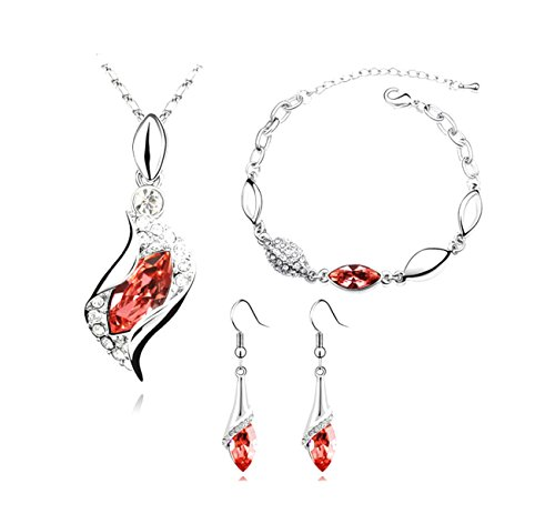 RuSong Platinum-plated Fashion Jewelry Set with Imported Crystal Element with 6 Colors Type Red