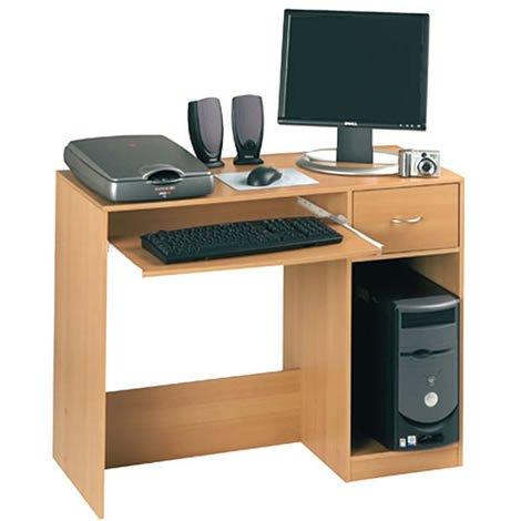 Fusion - Computer Desk - 1 Drawer, Keyboard & CPU Shelf - Beech Finish