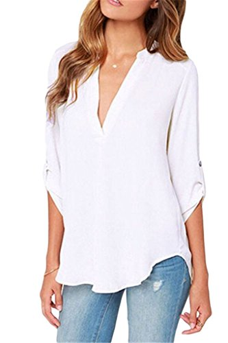 Dokotoo Womens Casual Chiffon Ladies V-Neck Cuffed Sleeve Blouse Tops Small White