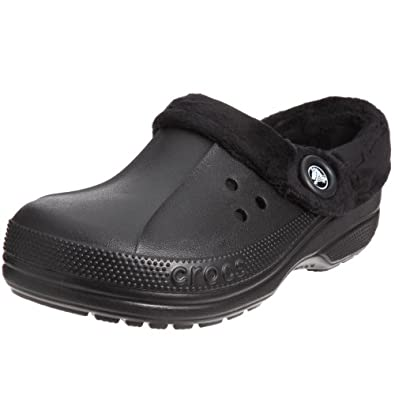 Crocs Unisex Blitzen Polar Fleece Clog,Black/Black,Men's 6 M/Women's 8 M