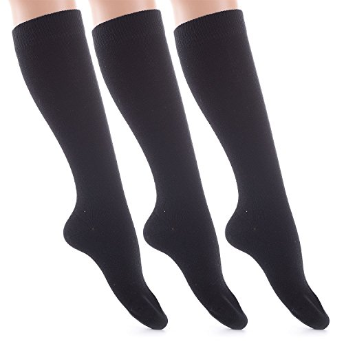 Laulax Women'S 3 Pairs Finest Combed Cotton Knee High Socks Uk Size 4 - 8 Black