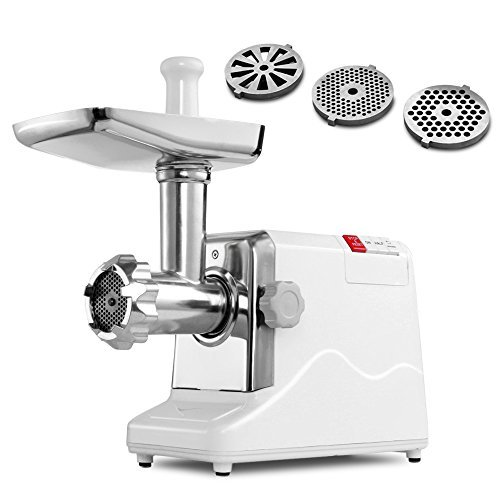 Meat Grinder Electric 2.6 HP 2000 Watt Industrial Heavy Duty Professional Commercial Home Sausage Stuffer Maker Food Mincer Slicer Mills Mixer with 3 Cutting Blades & Attachment Tool (Compact Table Top Grinder compare prices)