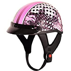 Outlaw T-70 Cool Girl Glossy Motorcycle Half Helmet Sz S