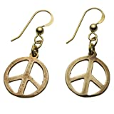 Small Peace Symbol Peace Bronze Earrings on French Hooks