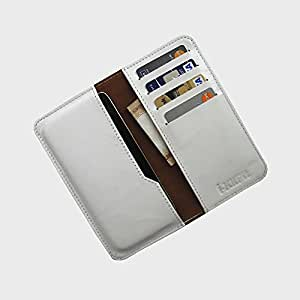 i-KitPit : Genuine Leather Wallet Flip Pouch Case For Huawei Ascend G510 (WHITE)