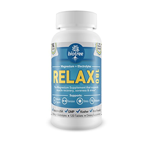 Relax 180 -- Magnesium + Electrolytes For Muscle Cramps, Muscle Spasms, Relief Of Stress, Anxiety & Natural Calm. High Absorption Magnesium Supplement. Kosher Certified -- 100% Money Back Guarantee