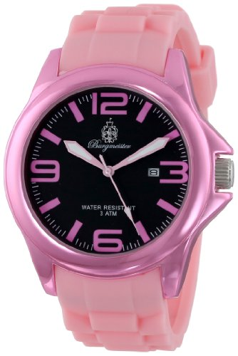 Burgmeister Fun Time Women's Quartz Watch with Black Dial Analogue Display and Pink Silicone Strap BM166-068