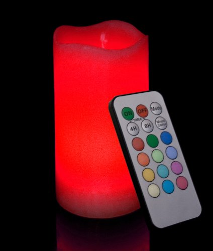 Round Melted Edge Remote Controlled Multi Color Changing Flameless Wax Pillar Candle, Made With Real Wax, 6 Inch Tall