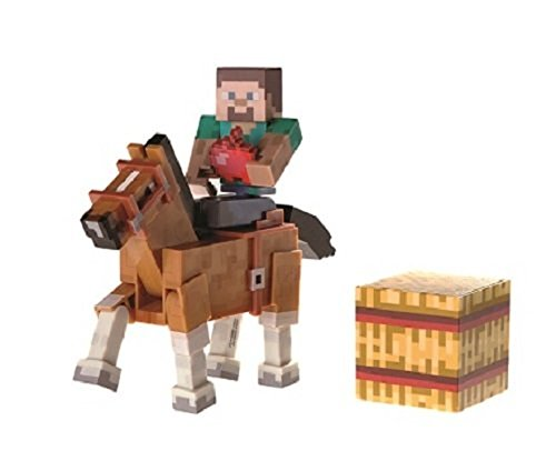 Minecraft Steve and Chestnut Horse Action Figures, with Hay Block And Apple series#2