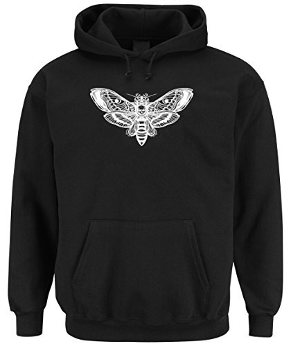 Skull Moth Hooded Sweater Nero Certified Freak-M